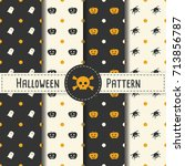 halloween pattern set... | Shutterstock .eps vector #713856787