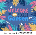 botanical poster with stylish... | Shutterstock .eps vector #713857717