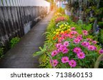 colorful flowers fence of local ... | Shutterstock . vector #713860153
