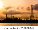 silhouette of oil refinery... | Shutterstock . vector #713860447