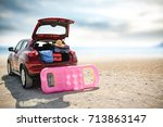summer car and sea  | Shutterstock . vector #713863147