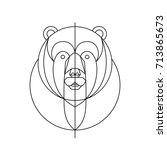 head bear line | Shutterstock .eps vector #713865673