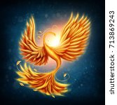 magic firebird on a blue... | Shutterstock . vector #713869243