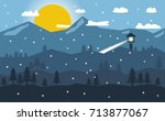 snowy mountain landscape and... | Shutterstock .eps vector #713877067