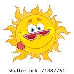 happy sun with shades | Shutterstock .eps vector #71387761