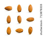 almond isolated. seamless... | Shutterstock . vector #713878333