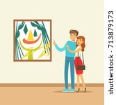 young couple in modern art... | Shutterstock .eps vector #713879173