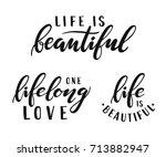life is beautiful. one lifelong ... | Shutterstock .eps vector #713882947