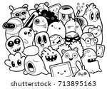 set of funny cute monsters ...
