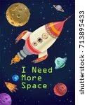 astronaut kids in a rocket on...   Shutterstock .eps vector #713895433