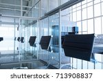 closeup of an empty conference... | Shutterstock . vector #713908837