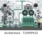 industrial machinery factory... | Shutterstock .eps vector #713909413