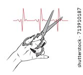 scissors in female hand cutting ... | Shutterstock .eps vector #713910187