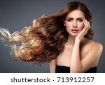 beauty woman face portrait.... | Shutterstock . vector #713912257