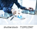 bitcoin cryptocurrency.... | Shutterstock . vector #713912587