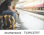young traveler man searching... | Shutterstock . vector #713913757