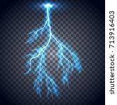 realistic lightning isolated on ... | Shutterstock .eps vector #713916403
