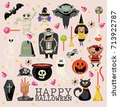 happy halloween vector greeting ... | Shutterstock .eps vector #713922787