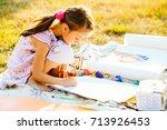 portrait of little girl... | Shutterstock . vector #713926453