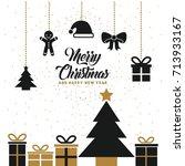 merry christmas lettering... | Shutterstock .eps vector #713933167