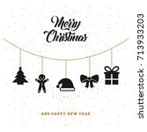 merry christmas and happy new... | Shutterstock .eps vector #713933203