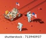 astronauts space planet... | Shutterstock .eps vector #713940937