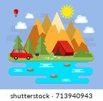 mountainous landscape. tourism. ... | Shutterstock .eps vector #713940943