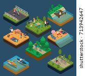 isometric summer outdoor... | Shutterstock .eps vector #713942647