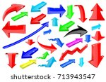 colored 3d arrows. shiny icons. ... | Shutterstock .eps vector #713943547