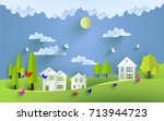 green scenery and beautiful...   Shutterstock .eps vector #713944723