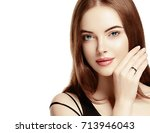 beautiful woman face with make... | Shutterstock . vector #713946043