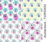 pattern doodle owl vector  | Shutterstock .eps vector #713953453