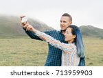 young loving couple taking... | Shutterstock . vector #713959903
