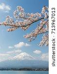 sakura cherry blossom and mt.... | Shutterstock . vector #713967013