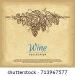 hand drawn grape wreath. old... | Shutterstock .eps vector #713967577
