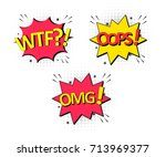 oops label icon. comic speech... | Shutterstock .eps vector #713969377