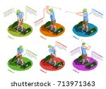 golf colored isometric icons... | Shutterstock .eps vector #713971363
