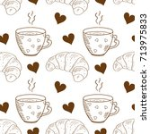 a cup  a croissant. background  ... | Shutterstock . vector #713975833
