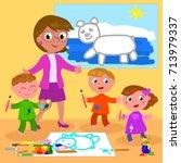 cartoon teacher with school... | Shutterstock .eps vector #713979337