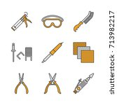 construction tools color icons... | Shutterstock .eps vector #713982217