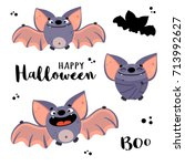 cute bats in cartoon style.... | Shutterstock .eps vector #713992627