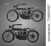 vintage motorcycle vector... | Shutterstock .eps vector #714002437