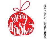 christmas ball.merry christmas... | Shutterstock .eps vector #714012553
