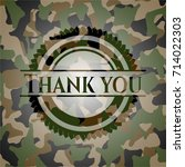thank you camouflaged emblem | Shutterstock .eps vector #714022303