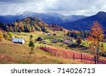 autumn colors of forests over... | Shutterstock . vector #714026713