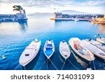 nafpaktos bay  greek small town ... | Shutterstock . vector #714031093