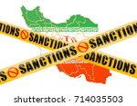 sanctions concept with map of... | Shutterstock . vector #714035503