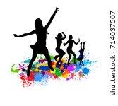 abstract disco dancing girls.... | Shutterstock .eps vector #714037507