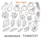 autumn objects hand drawn... | Shutterstock .eps vector #714042727