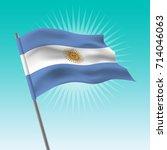 waving argentina flag. vector... | Shutterstock .eps vector #714046063